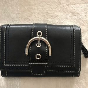 Coach Leather Buckle Wallet with Snap Closure
